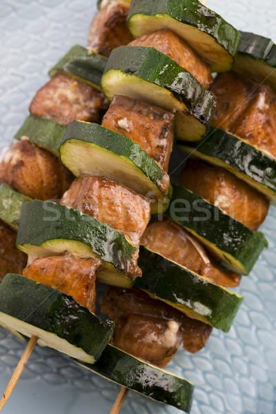 Salmon and courgette shashlik Stock photo © joannawnuk