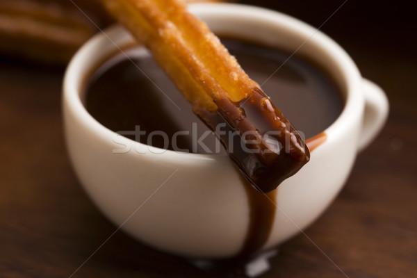 deliciuos spanish Churros with hot chocolate Stock photo © joannawnuk