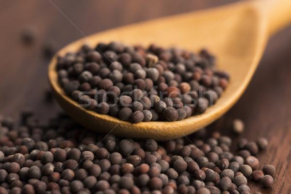 Bruin mosterd zaden papier voedsel geneeskunde Stockfoto © joannawnuk