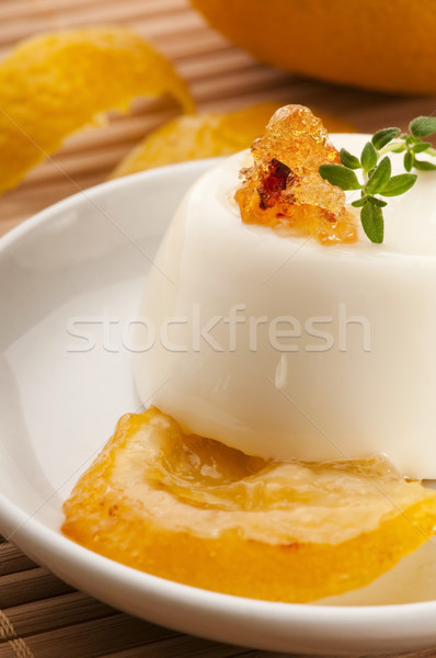 Stockfoto: Vanille · dessert · citroen · vers · kruiden · vruchten