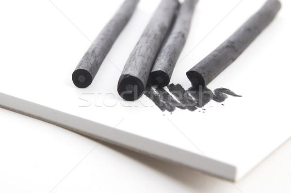 Fekete faszén piszok szerszámok fehér rajz Stock fotó © joannawnuk