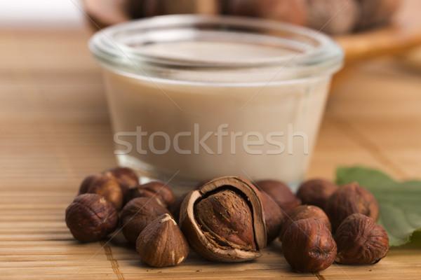 Stockfoto: Hazelnoot · melk · tabel · drinken · ontbijt · witte