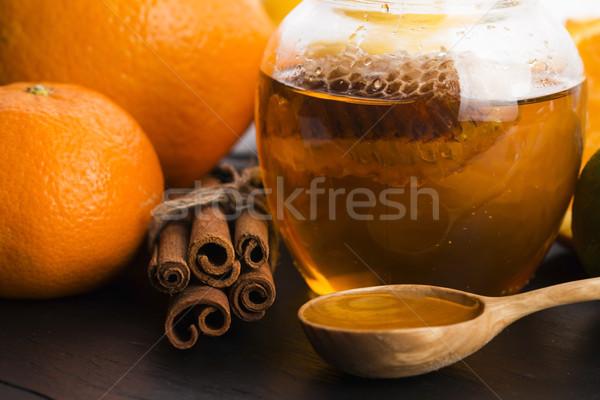 меда цитрусовые корицей текстуры стекла оранжевый Сток-фото © joannawnuk
