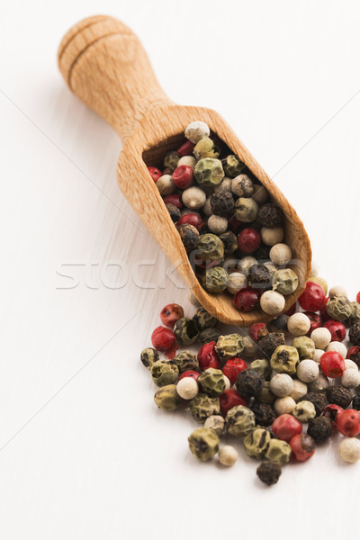 Mixed green, red, white and black peppercorns Stock photo © joannawnuk