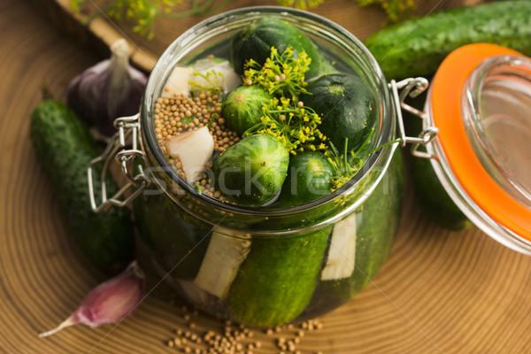 Closeup of fresh pickling cucumbers Stock photo © joannawnuk