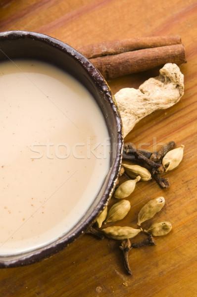 Beber folhas leite preto indiano bem-estar Foto stock © joannawnuk