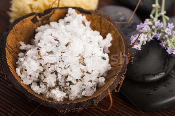 Házi készítésű bőr bozót tengeri só olívaolaj levendula Stock fotó © joannawnuk