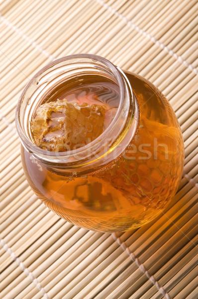 Fresche miele a nido d'ape alimentare frutta vetro Foto d'archivio © joannawnuk