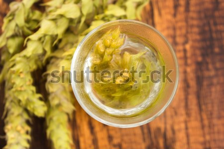 Cannabis herbal tea on wooden background Stock photo © joannawnuk