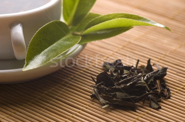 зеленый чай Кубок листьев бамбук лоток воды Сток-фото © joannawnuk