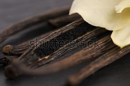 ストックフォト: バニラ · 背景 · 黒 · アジア · 料理 · デザート