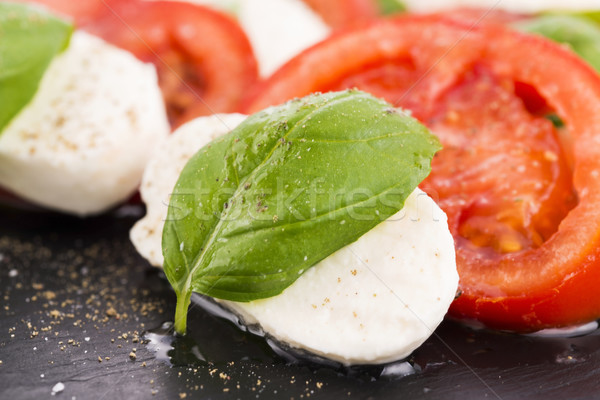 Caprese salatası mozzarella domates fesleğen balsamik sirke Stok fotoğraf © joannawnuk