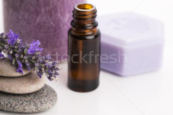 Lavendel bloemen gezondheid olie badkamer Stockfoto © joannawnuk