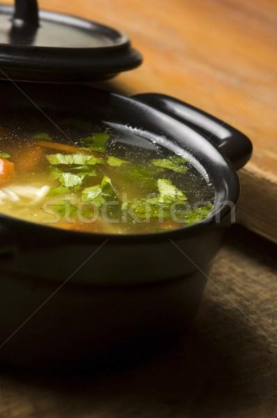 Brodo di pollo ceramica ciotola alimentare pollo mangiare Foto d'archivio © joannawnuk