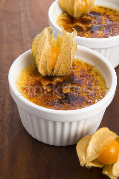 French dessert - cream brulee, burnt cream  Stock photo © joannawnuk