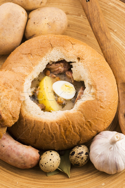 Stock photo: traditional white borscht (zurek) with sausage,egg and mushrooms
