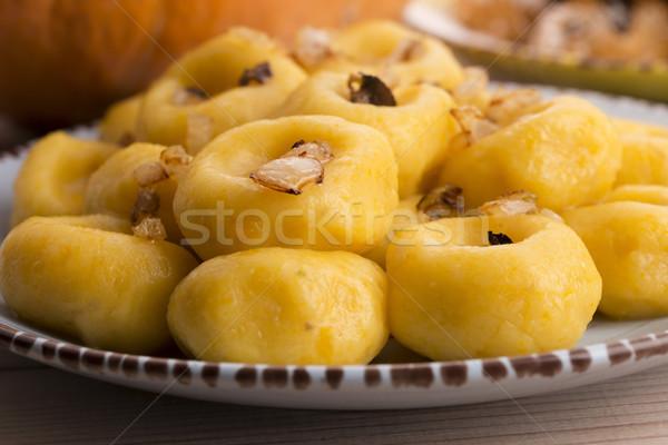 Polish noodles ( kluski slaskie ) with potatoe and pumpkin Stock photo © joannawnuk