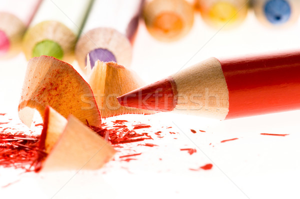 Sharpened pencils and wood shavings Stock photo © joannawnuk