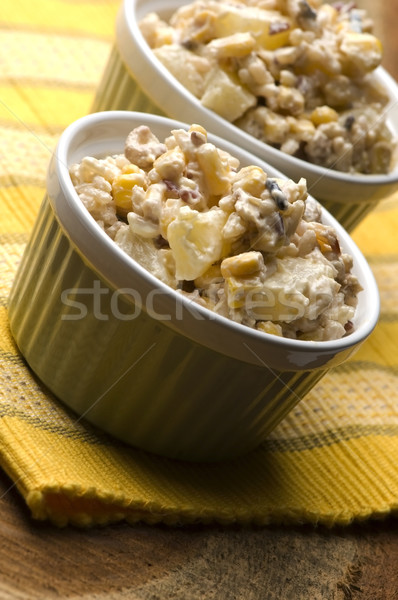 Salad with corn, ananas, nuts and rice Stock photo © joannawnuk