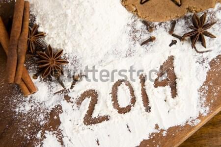 Napis mąka nowy rok świetle jaj kuchnia Zdjęcia stock © joannawnuk