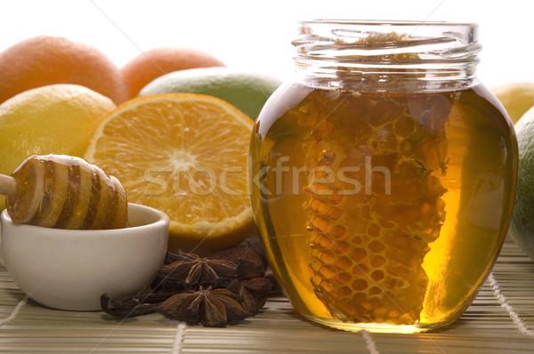 新鮮な はちみつ ハニカム スパイス 果物 レモン ストックフォト © joannawnuk