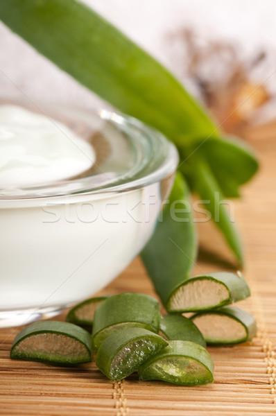 aloe vera - leaves and face cream Stock photo © joannawnuk