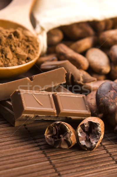 Kakao fasulye çikolata mutfak bitki makro Stok fotoğraf © joannawnuk