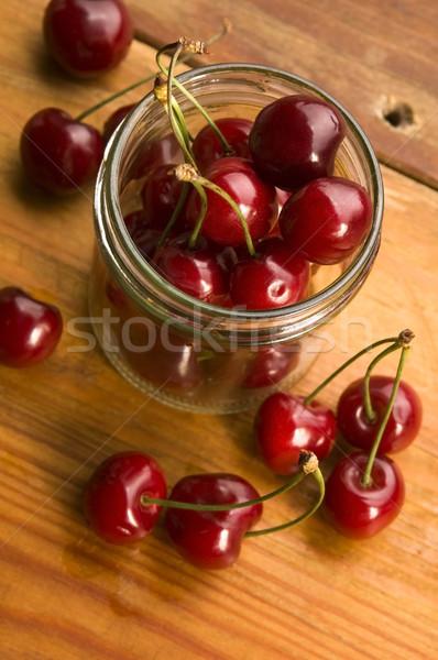 Cereja vidro jarra isolado comida Foto stock © joannawnuk