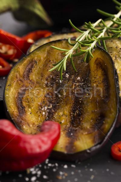 焼き 茄子 スライス 赤 プレート ホット ストックフォト © joannawnuk