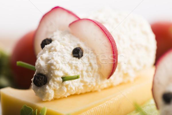 楽しい 食品 子供 マウス チーズ 背景 ストックフォト © joannawnuk
