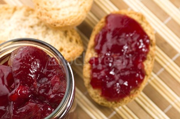 Breakfast of cherry jam on toast Stock photo © joannawnuk