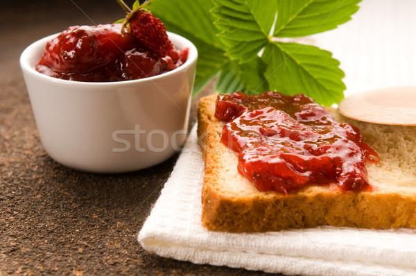 Vadeper lekvár pirítós étel gyümölcs üveg Stock fotó © joannawnuk