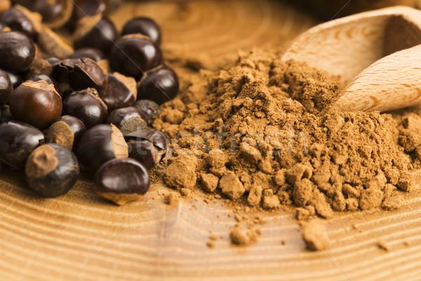 Sementes pó madeira café planta nozes Foto stock © joannawnuk