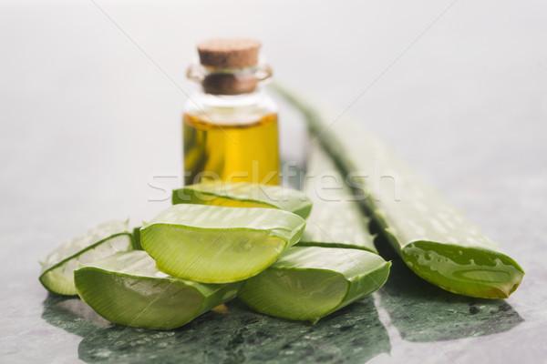 бутылку алоэ нефть зеленый холст здорового Сток-фото © joannawnuk