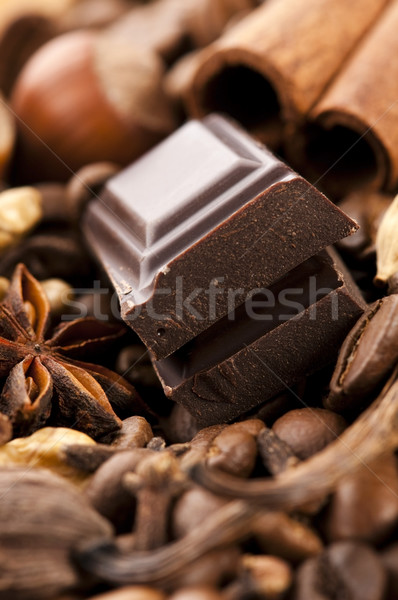 chocolate with coffee beans, spices and nuts Stock photo © joannawnuk