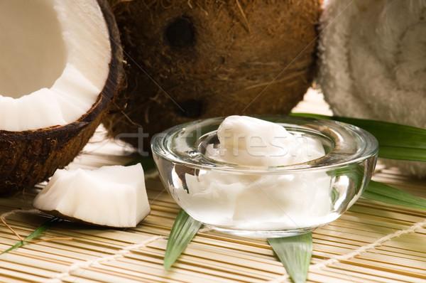 Kokosnuss Öl Blume Massage Bambus Gleichgewicht Stock foto © joannawnuk