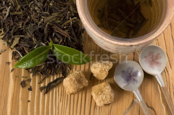 Tee Früchte Gold Tasse japanisch asia Stock foto © joannawnuk