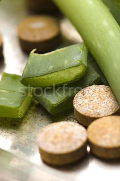 aloe vera plant with pills - herbal medicine Stock photo © joannawnuk