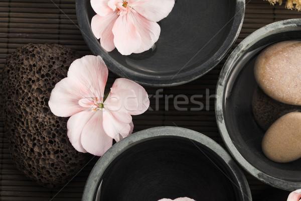 スパ 静物 ピンク 花 石 水 ストックフォト © joannawnuk