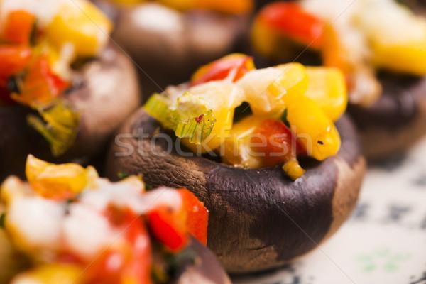 Gevuld champignons voedsel kaas vlees tomaat Stockfoto © joannawnuk