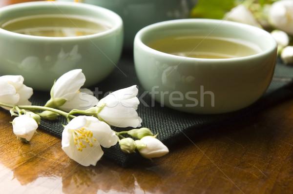 緑茶 カップ ティーポット 木製のテーブル 葉 庭園 ストックフォト © joannawnuk