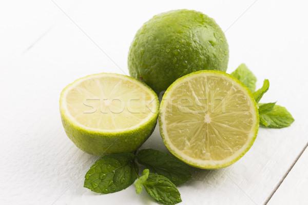 Stockfoto: Groene · mint · waterdruppels · witte · water · voedsel