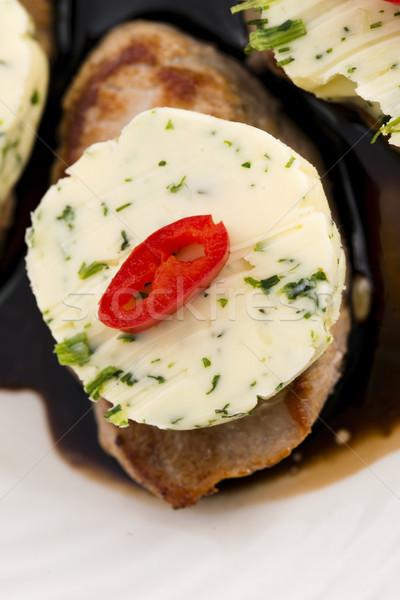 steak with herbs butter Stock photo © joannawnuk