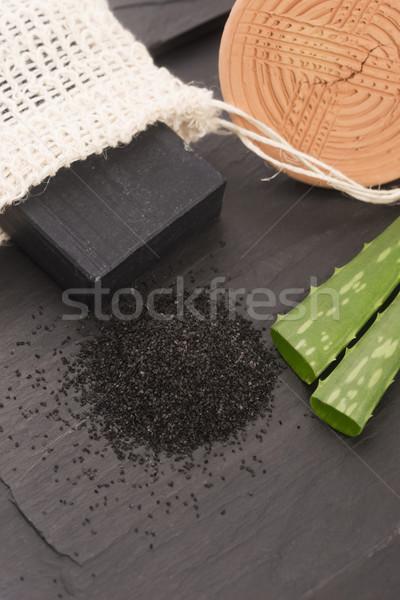 block of natural carbon soap with aloe vera Stock photo © joannawnuk