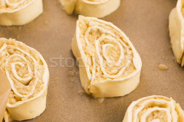 Puff pastry cookies with apple and cinnamon before baking Stock photo © joannawnuk