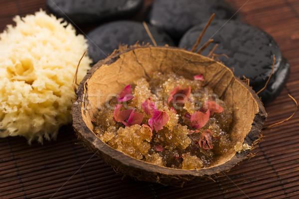 Homemade body peeling with sugar, olive oil and rose petal Stock photo © joannawnuk