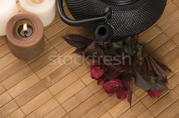 Edény tea teáskanna friss virágok bambusz Stock fotó © joannawnuk