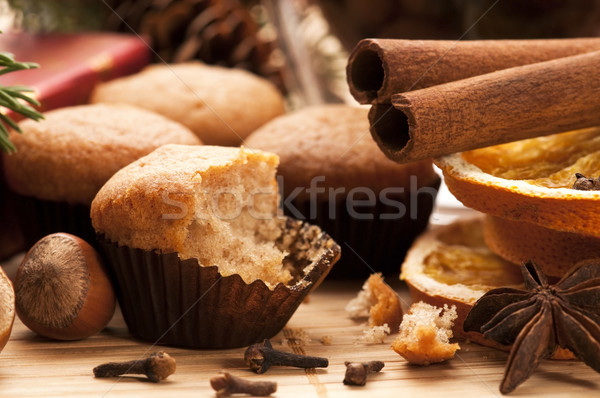 Freshly baked muffins with difrens kind of spieces - christmas d Stock photo © joannawnuk