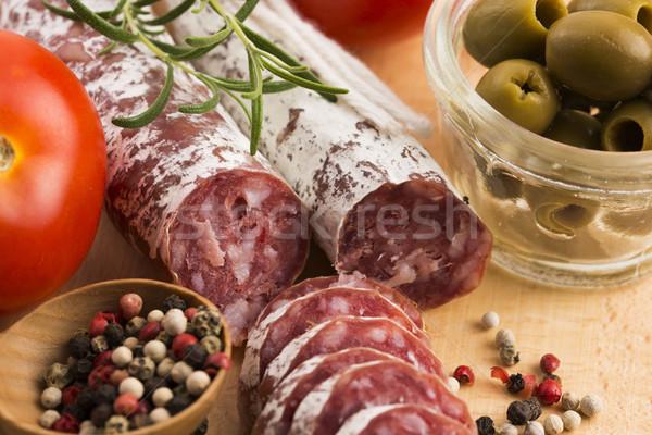 スライス スペイン語 豚肉 ソーセージ 朝食 脂肪 ストックフォト © joannawnuk
