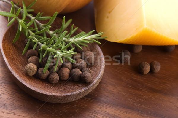 allspice with fresh rosemary, cheese and onion Stock photo © joannawnuk